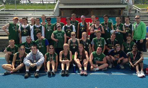 Last year's championship team with their medals