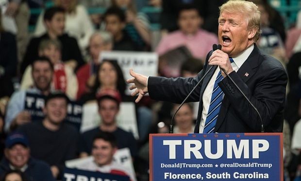Donald Trump at a South Carolina campaign rally. Photograph: Sean Rayford/Getty Images