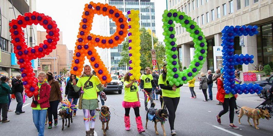 Members of the Calgary community celebrate diversity by marching in the gay pride parade in downtown Calgary on Sunday, Sept. 4, 2016. (Photo by Dawn Gibson/SAIT)