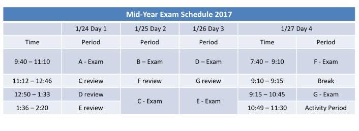 Mid Term Exam Schedule 2017