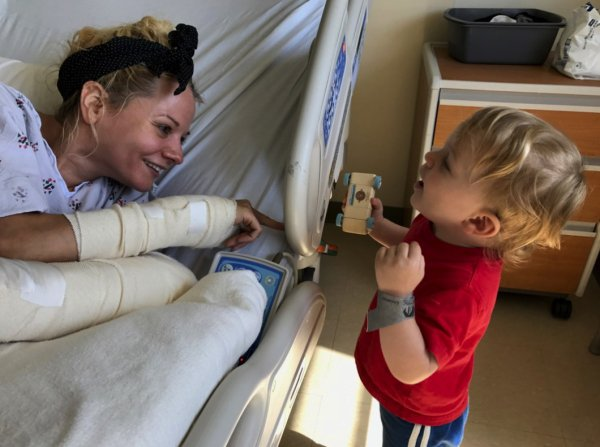 Caroline Maurer, a young boys nanny,  now being heralded as a hero for saving him from an oncoming car.
