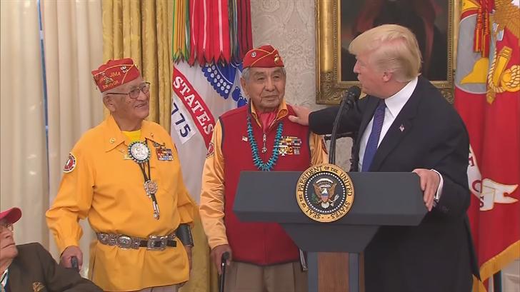 """Trump Makes """"Pocahontas"""" Joke at Event Honoring Native American Veterans"""