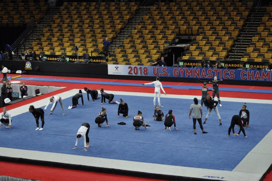 Senior Women Gymnasts warming up on the final day of competition
