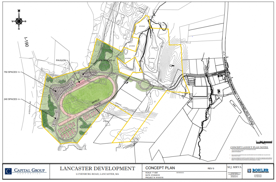 The concept plan for the proposed racetrack