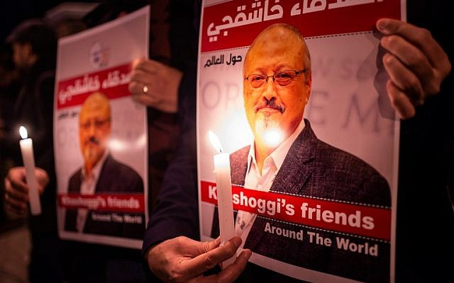 People gather outside the Consulate in remembrance of Jamal Khashoggi.
