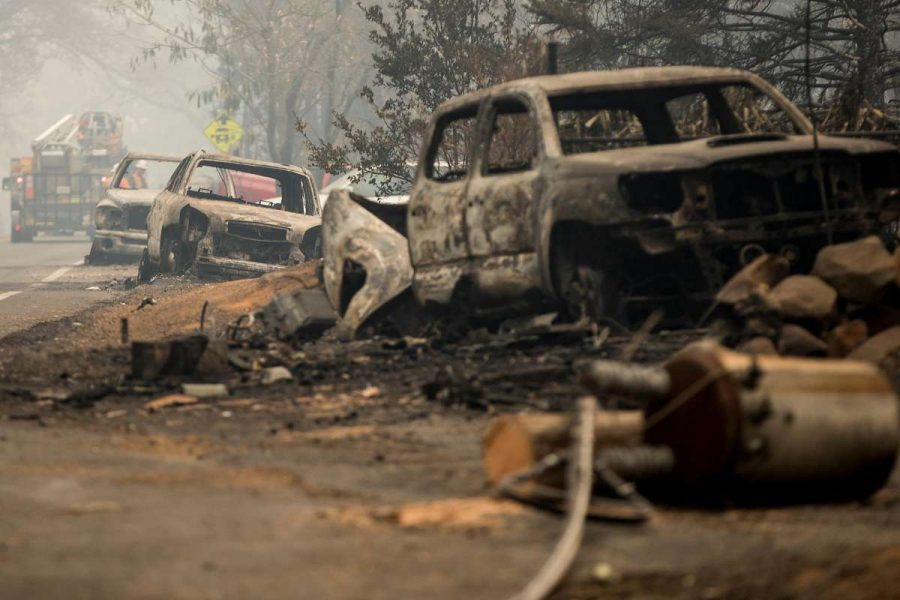 Ruined cars after the California wildfires passed through the region