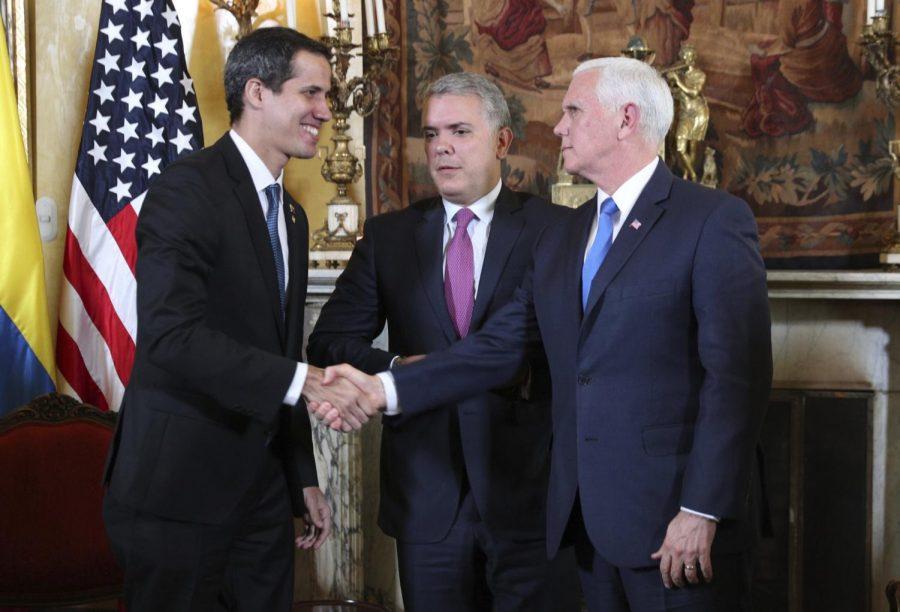 A meeting between Mike Pence and Juan Guaido