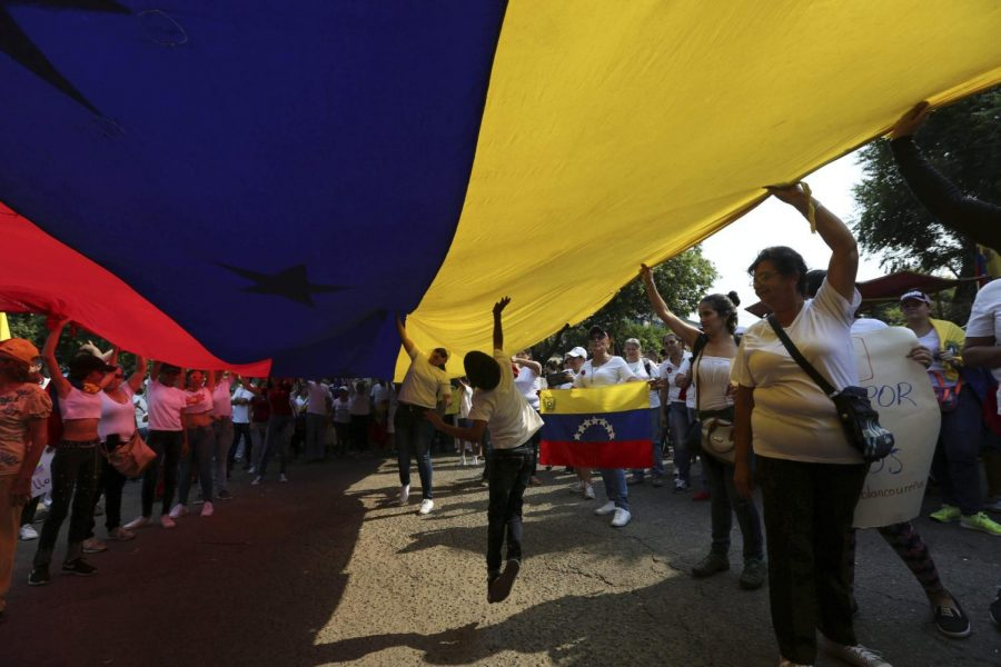 Opposition members carry the flag in a protest