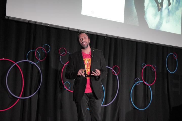 Kofi Charu Nat Turner speaking about mindfulness during his TED talk.