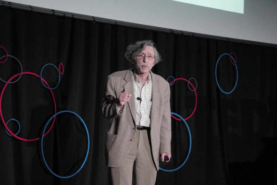 Dr. Jim Henle giving a TED talk at the TEDxAmherst conference.
